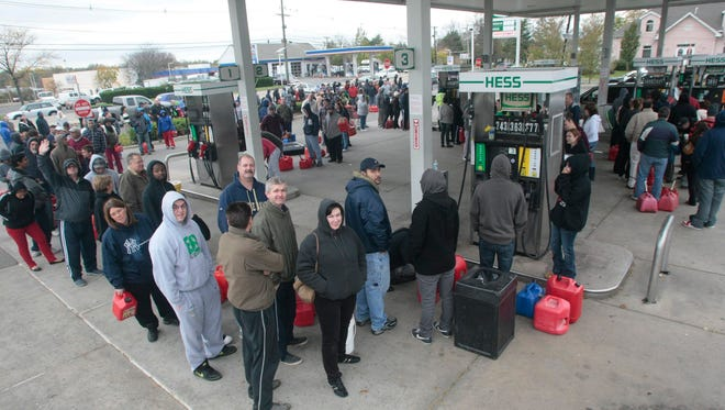 Hundreds line up for gasoline at a gas station in East Brunswick, N.J., on Oct. 31, 2012.
