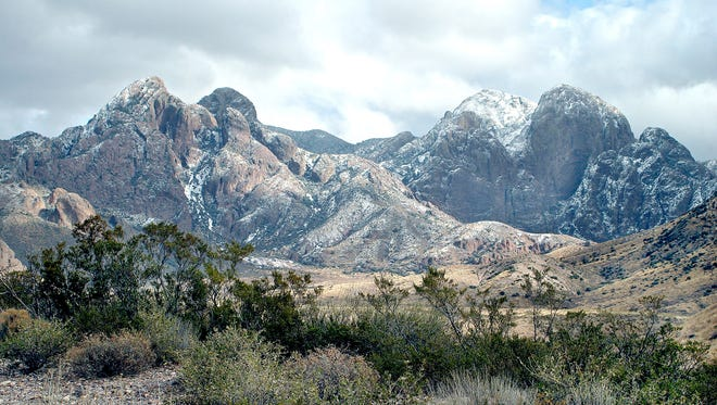 The Organ Mountains near Las Cruces, N.M., are left with a light dusting of snow in 2006. Interior Secretary Sally Jewell visited the area recently for a tour and a public hearing to discuss legislation that would designate the desert mountain range and other scenic areas around Dona Ana County as a national monument.