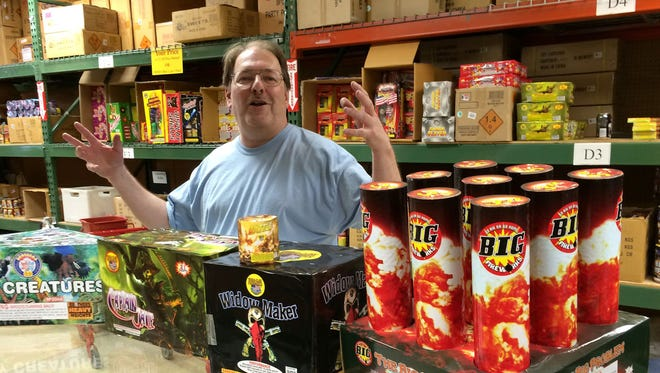 "Steve LaFleur, co-owner of Southgate Fireworks, has been in business 35 years. Since the law changed, he has been able to sell rockets, mortars and more. ""Everybody likes the aerial stuff,"" he said."