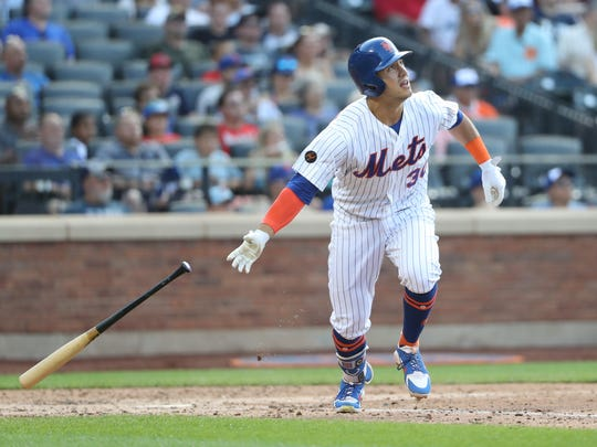 Jul 14, 2018; New York City, NY, USA; New York Mets left fielder Michael Conforto (30) heads out on his three run home run to right during the fifth inning against the Washington Nationals at Citi Field.