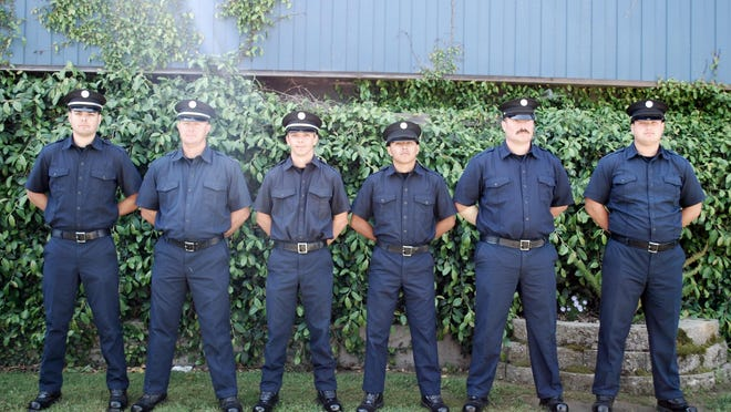 From left: Matthew Martinez, Larry Mayfield, Lucas Alves, Christian Avalos, Joshua Ellis, and Andrew Eggleston are recent graduates of the Tulare County Fire Department Academy.