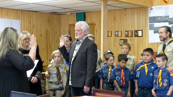 Scouts from Ruidoso Pack 59 Boy Scouts of America, Conquistador Council, were invited to attend the swearing-in of new mayor Lynn Crawford.