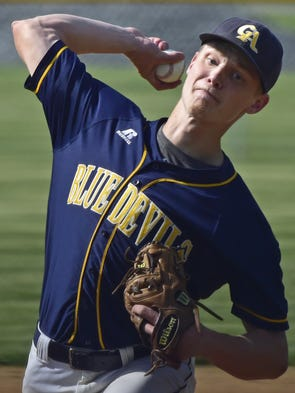 Greencastle's Myles Gayman pitches during the Eastern