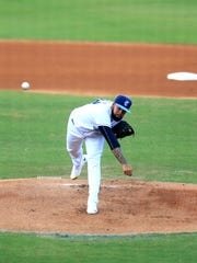 Hooks pitcher Yoanys Quiala pitches in the game against the San Antonio Missions on Monday, January 19, 2017 at Whataburger Field.