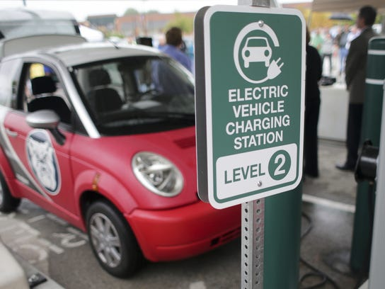 A Think car at a charging station in Carmel last year. Robert Scheer/The Star