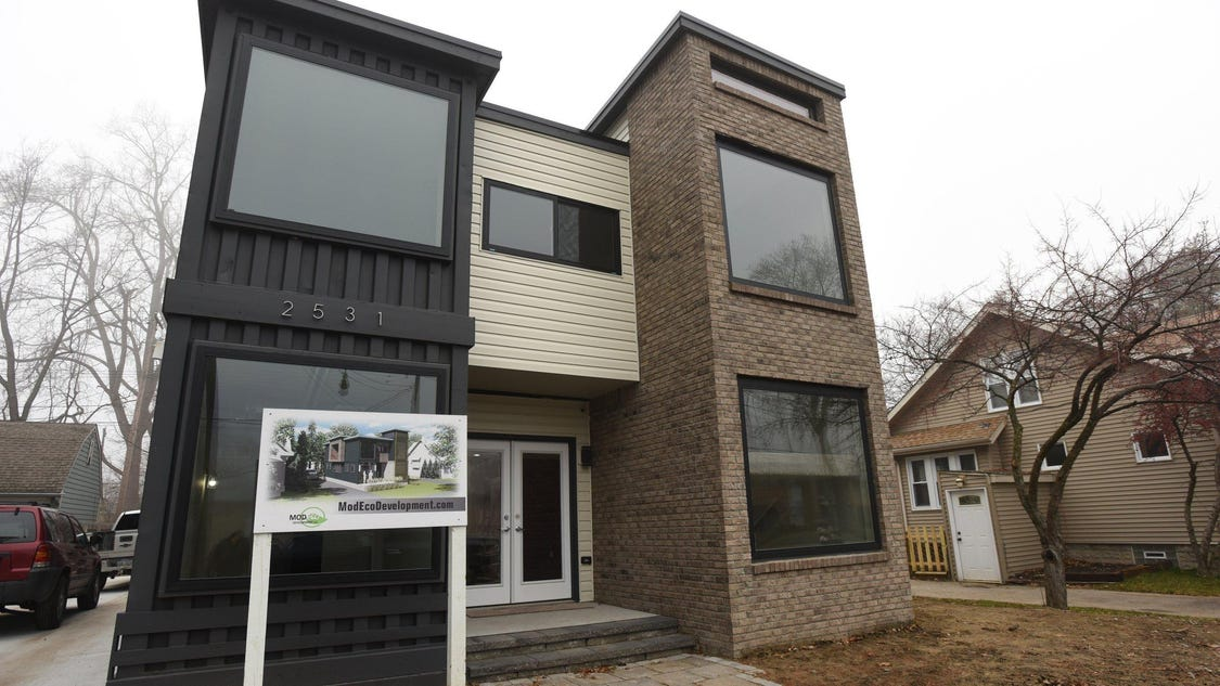 house built of shipping containers goes up in royal oak. Black Bedroom Furniture Sets. Home Design Ideas