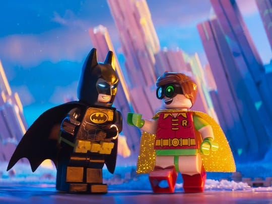 LEGO minifigures Batman (Will Arnett) and Robin (Michael