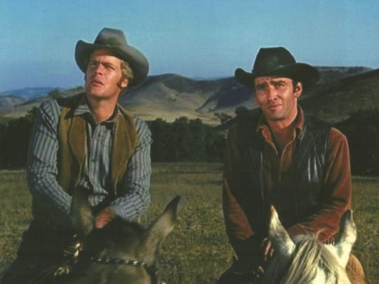 Doug McClure (left) and James Drury were the only actors who had roles in The Virginian from the start of the nine-year western TV series to the end. Drury grew up in Salem.