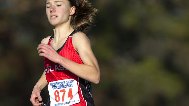 Pulaski's Kailyn Jessel runs toward the finish line at the WIAA state cross country meet at the Ridges Country Club in Wisconsin Rapids this past November. Jessel placed fifth in the Division 1 race.
