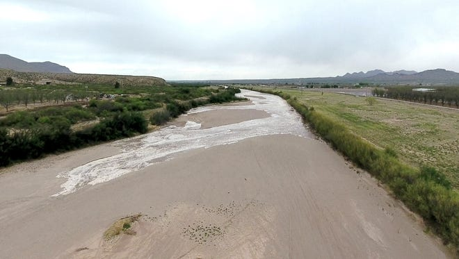 The first water released in 2017 from upstream reservoirs reaches the Las Cruces stretch of the Rio Grande on April 1, 2017.