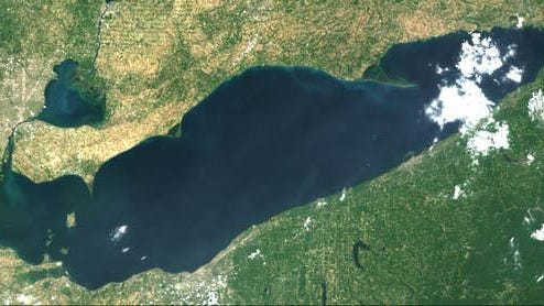 A satellite image of Lake Erie captured July 7.