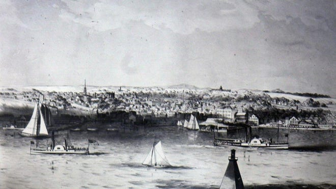 An early view of the Burlington waterfront during the era of commerce.