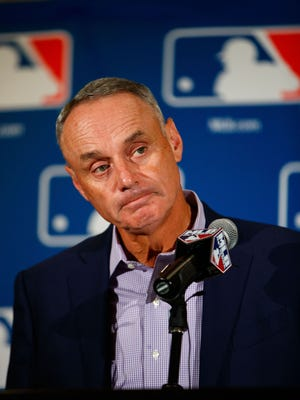 Major League Baseball commissioner Rob Manfred speaks during Spring Training Media Day at The Arizona Biltmore.
