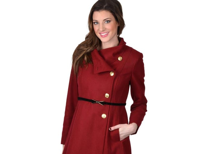 Don't let the cold cramp your style. Jessica Simpson women's asymmetrical button belted coat, $96.99 at overstock.com.