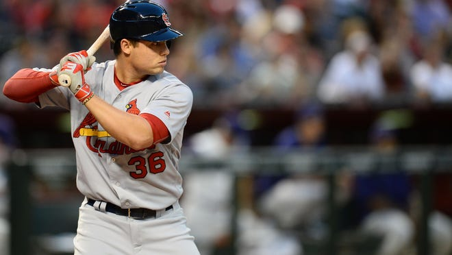 St. Louis Cardinals shortstop Aledmys Diaz (36) is third in the National League with a .328 average and plenty of pop, with eight homers and 30 RBIs