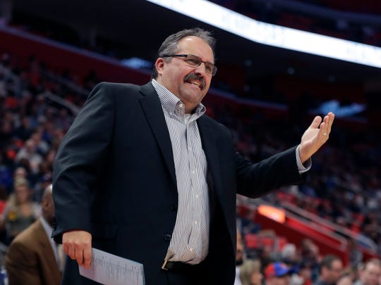 Pistons coach Stan Van Gundy argues a call during the first half Jan. 19 at Little Caesars Arena.