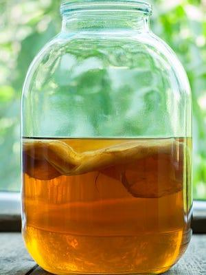 Natural kombucha, a fermented tea beverage