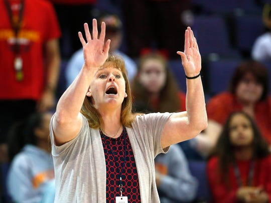 Seton Catholic Prep head coach Karen Self talks at her team during the 4A Girls state championship basketball game against Pueblo in Phoenix on February 24, 2018.