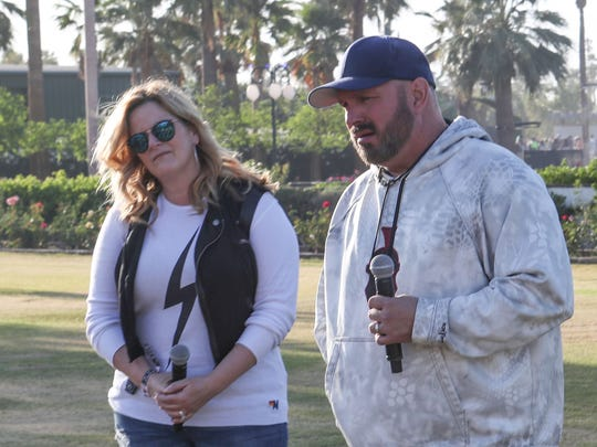 Apr 29, 2018; Indio, CA, USA; XXX Garth Brooks and Trisha Yearwood hold a press conference at the Stagecoach Country Music Festival at Empire Polo Club. Mandatory Credit: Jay Calderon/The Desert Sun via USA TODAY NETWORK