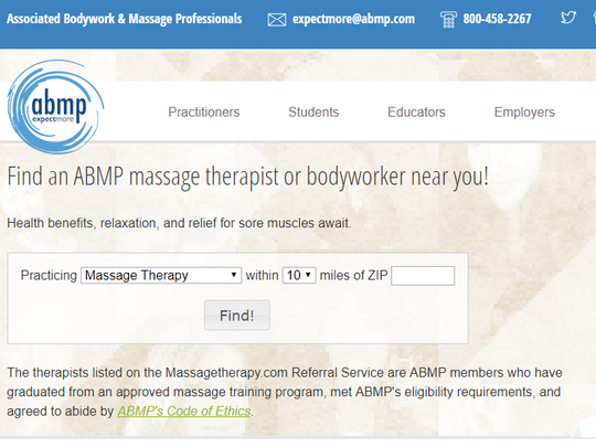 The Associated Bodywork and Massage Professionals website includes a search tool to find a certified massage therapist.
