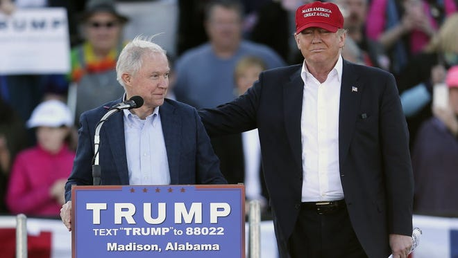 Donald Trump and Jeff Sessions at a presidential campaign rally in 2016 in Madison, Ala.
