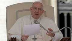 Pope Francis delivers his speech during his weekly