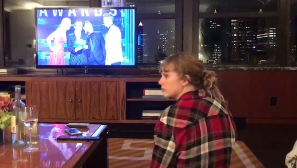 """Taylor Swift watched the CMA Awards on TV from New York, where she's rehearsing for """"Saturday Night Live."""""""