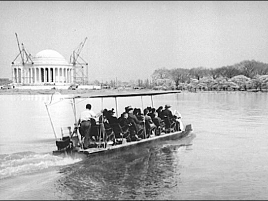 Boating on the Tidal Basin during Cherry Blossom Time in Washington, D.C. (1941 Photo; Library of Congress, Prints and Photographs Division)