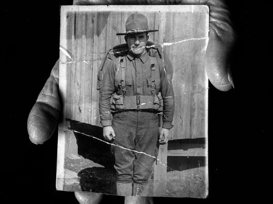 William Orser, 96 years old at time of photograph 1998 Army Medical Corp. Saw action in 5 major battles, France 1918