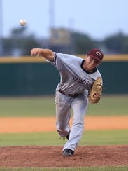 Calallen High School pitcher Zach Rumfield pitches