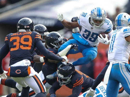 Jamal Agnew runs against the Chicago Bears in the third quarter of the Detroit Lions' 27-24 win Sunday, Nov. 19, 2017 at Soldier Field in Chicago.