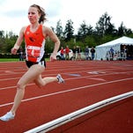 Oregon State's Morgan Anderson (4) competes in the 1500 meters in a dual meet against Utah, on Saturday, March 21, 2015, in Corvallis. The meet was the first home dual track meet for OSU since 1988.