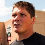 Former Philadelphia Eagles guard Danny Watkins addresses the media during training camp at the Eagles NovaCare Complex. He was released and signed by the Miami Dolphins.
