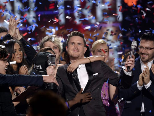 American Idol Season 15 winner Trent Harmon, center,