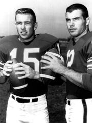 Buffalo Bills quarterbacks Jack Kemp, left, and Daryle Lamonica are shown in this 1964 file photo. Lamonica played backup four seasons before a trade to Oakland in 1967 gave him opportunity to blossom into NFL star. Will Bills be on other end with Tyrod Taylor, who played backup in Baltimore four seasons before arriving in Buffalo last season as a free agent?