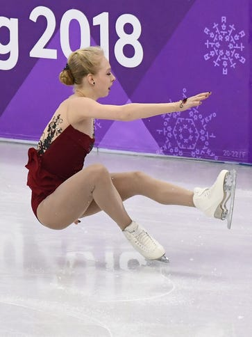 U.S. champ Bradie Tennell falls in her Olympic individual