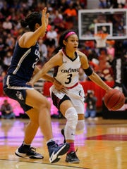 Cincinnati Bearcats guard Ana Owens (3) brings the