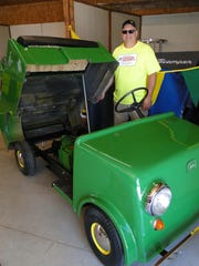 One of the most unique pieces at the JD Freedom machines celebration at the Dodge County Fairgrounds this weekend was Mike Saelens' 1962 JD Scamper.  It is one of just 11 made and was rejected by John Deere when it was originally presented to them because they did not sell.  Likely they were just too expensive for the 1960's.