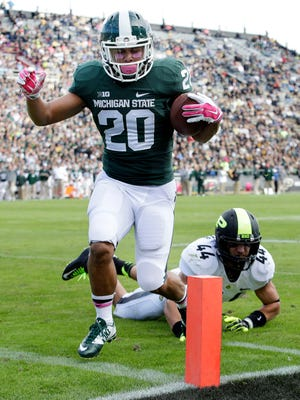 Nick Hill helped the Spartans' to a 45-31 win over Purdue on Saturday.