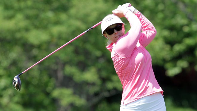 Morgan Pressel tees off from the 18th tee while practicing at the Westchester Country Club May 26, 2015. The 2015 KPMG Women's PGA Championship will be held at the Westchester Country Club in June.