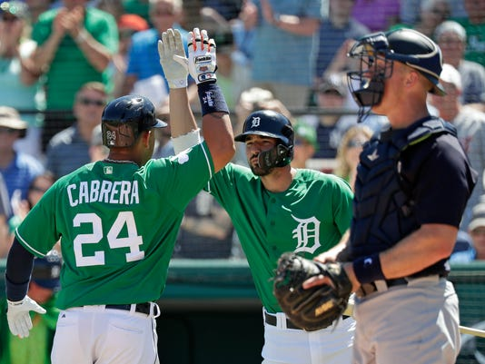 Detroit Tigers' Miguel Cabrera (24) gets a high-five from teammate Nicholas Castellanos, center, after hitting a home run in the first inning as New York Yankees catcher Erik Kratz, right, waits for the next batter in a spring training baseball exhibition game, Saturday, March 17, 2018, in Lakeland, Fla. (AP Photo/John Raoux)
