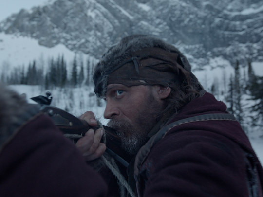 "John Fitzgerald (Tom Hardy) hunts for the man he left for dead in the wilderness in ""The Revenant."""