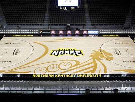 Nku 39 s new basketball court design features large norse ship for Cheapest way to make a basketball court