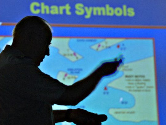An instructor with the Coast Guard Auxiliary speaks