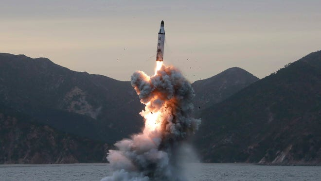 An undated file photo released on 24 April 2016 by North Korean Central News Agency (KCNA) shows an 'underwater test-fire of strategic submarine ballistic missile' conducted at an undisclosed location in North Korea. According to media reports on 28 April 2017 state that North Korea has test-fired a ballistic missile an area just north of Pyongyang.