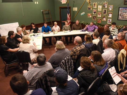 "Audience members fill the party and event room at Jimmy's Pour House in Sauk Rapids Thursday, Jan. 19, for a GREAT Theatre script-in-hand performance of ""Twelve Angry Jurors."""