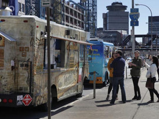 Food trucks line up downtown in 2015.