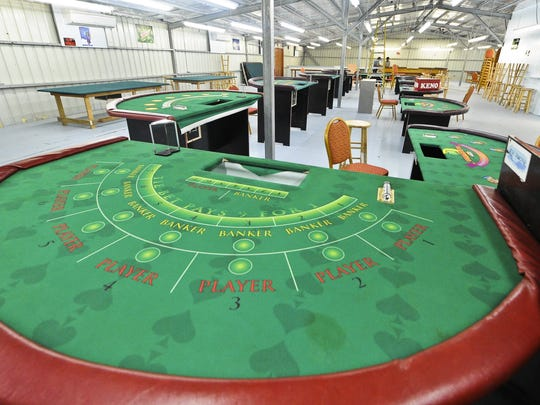Gaming tables are set up in the casino near the liberation carnival grounds at Tiyan, in this 2010 file photo.