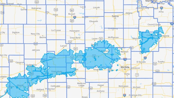 This map shows areas where IdeaTek proposes to extend its service using state grants.
