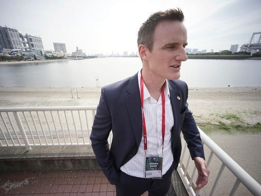"In this Thursday, April 20, 2017 photo, Andrew Baker, Games Director of the Canadian Olympic Committee, speaks at Odaiba Seaside Park, the venue of the Tokyo 2020 Summer Olympic and Paralympic Games, during an interview with The Associated Press in Tokyo. With just over three years to go, National Olympic Committees are already visiting Tokyo to survey the city's Olympic plans and ensure their athletes will compete under the best possible conditions at the 2020 Games. ""There is a high level of confidence in what Tokyo 2020 will deliver,"" said Baker. ""You expect a high level of organization and I would say from what we've seen with the planning so far they are living up to that reputation."" (AP Photo/Eugene Hoshiko)"